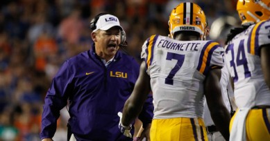Coach Les Miles and Leonard Fournette